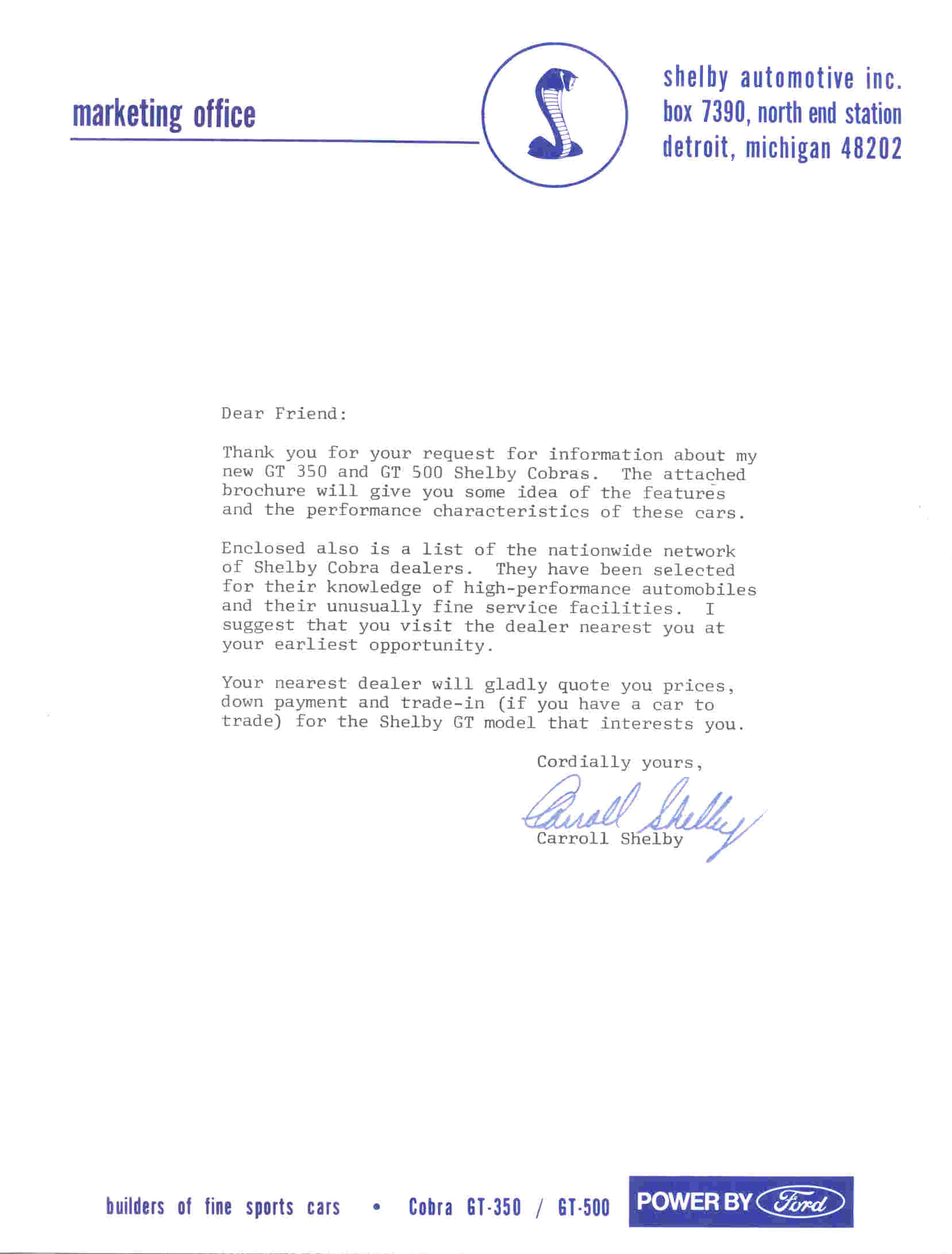 shelby marketing letter